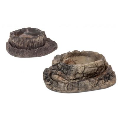 Lot de 2 bols céramiques imitation roche ou bois